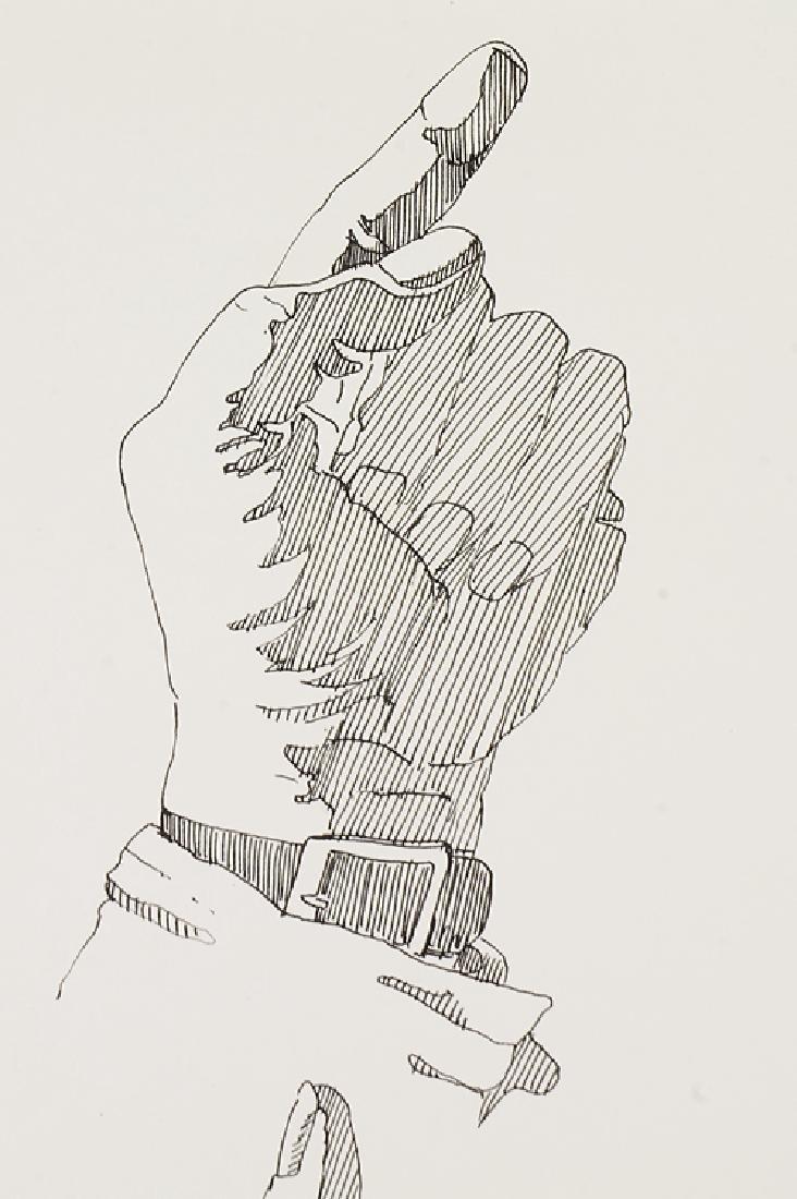2pcs Signed SALVATORE GRIPPI INK STUDY OF HANDS 1976 - 3