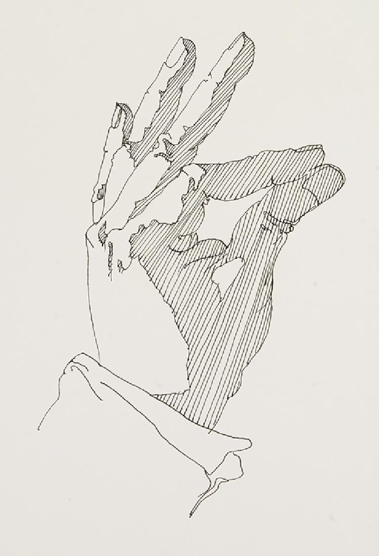 2pcs Signed SALVATORE GRIPPI INK STUDY OF HANDS 1976 - 4