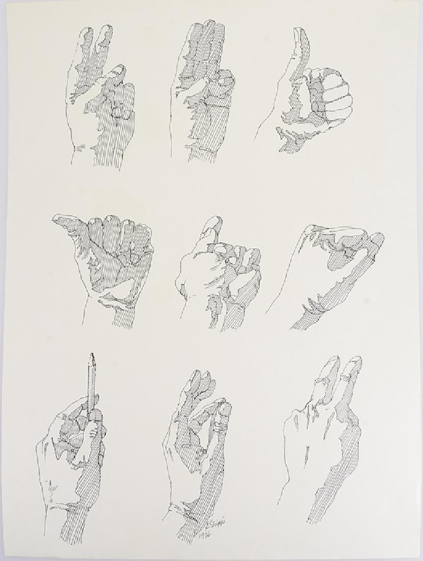 2pcs Signed SALVATORE GRIPPI INK STUDY OF HANDS 1976 - 6