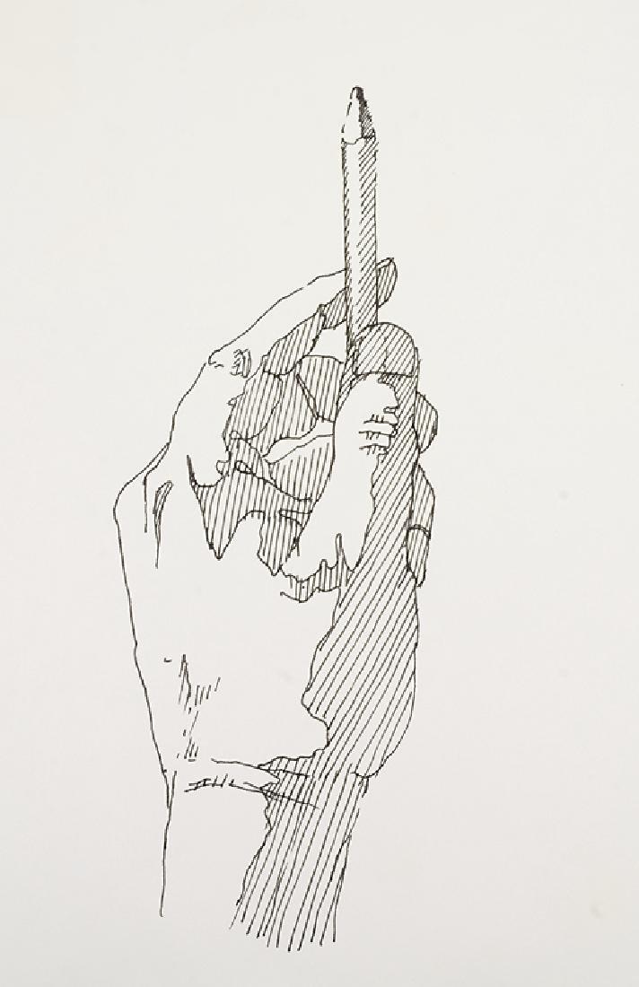 2pcs Signed SALVATORE GRIPPI INK STUDY OF HANDS 1976 - 7
