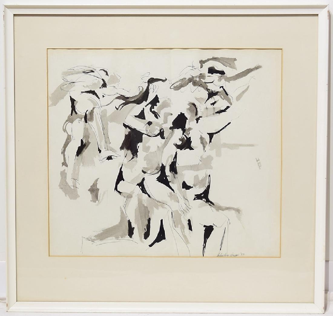 Early Work Framed SALVATORE GRIPPI INK ON PAPER Artist