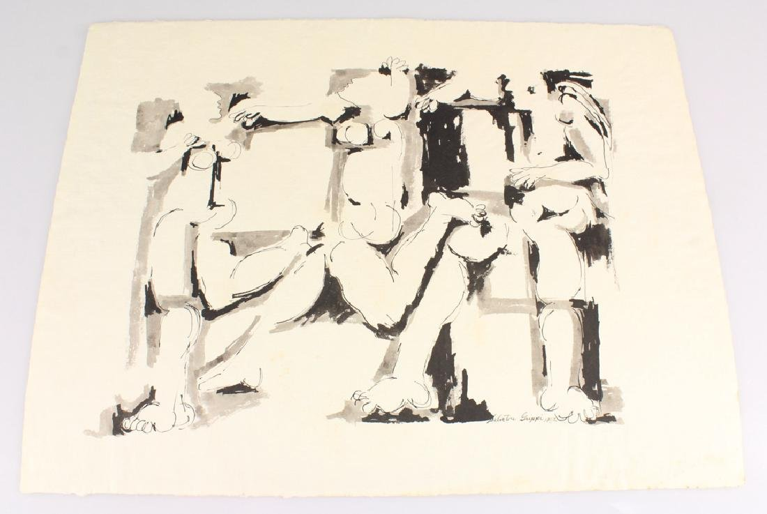 Early Figurative SALVATORE GRIPPI INK PAINTING Artist