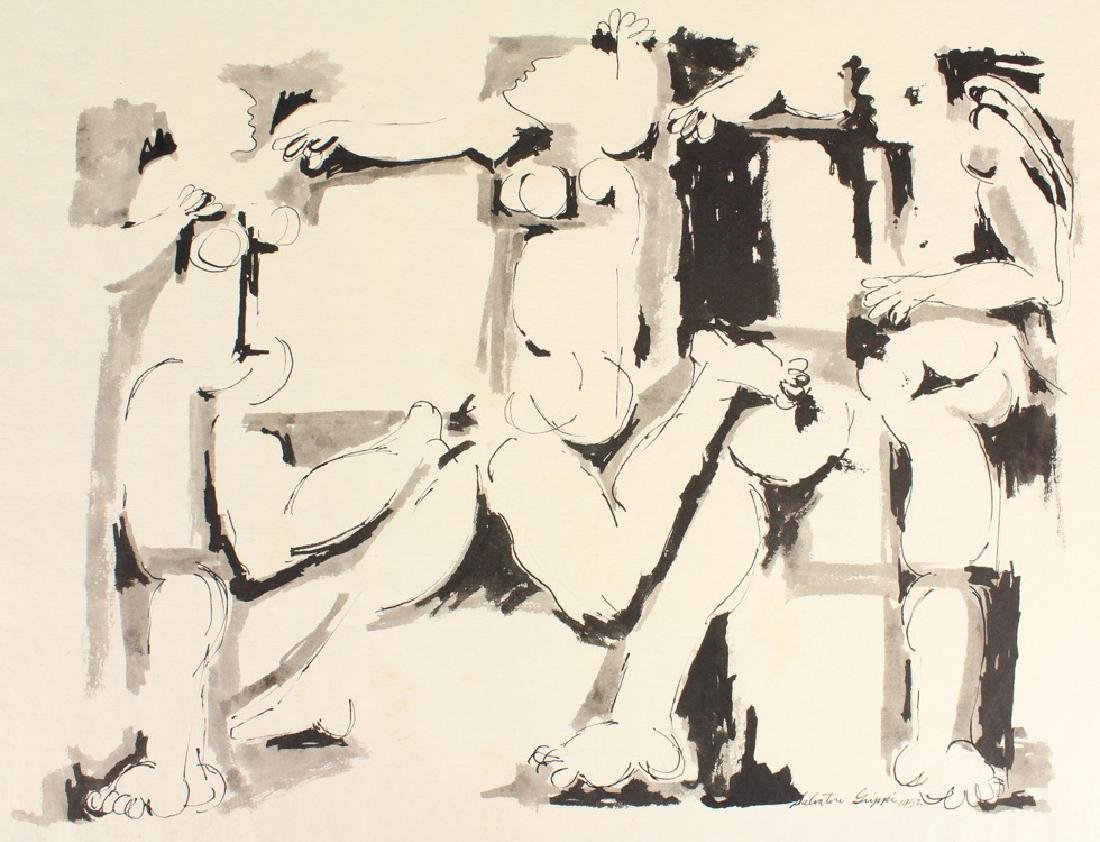 Early Figurative SALVATORE GRIPPI INK PAINTING Artist - 2