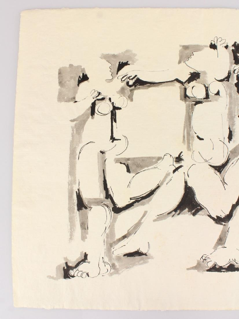 Early Figurative SALVATORE GRIPPI INK PAINTING Artist - 3