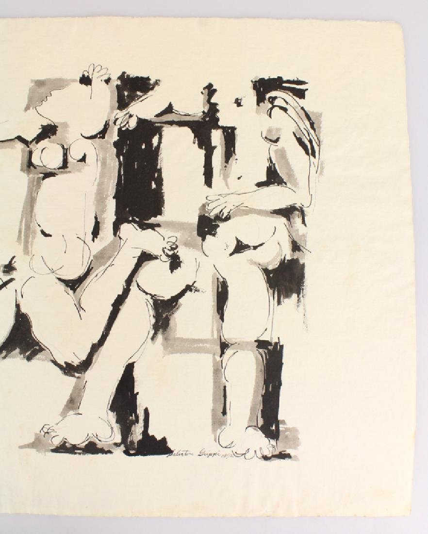 Early Figurative SALVATORE GRIPPI INK PAINTING Artist - 4
