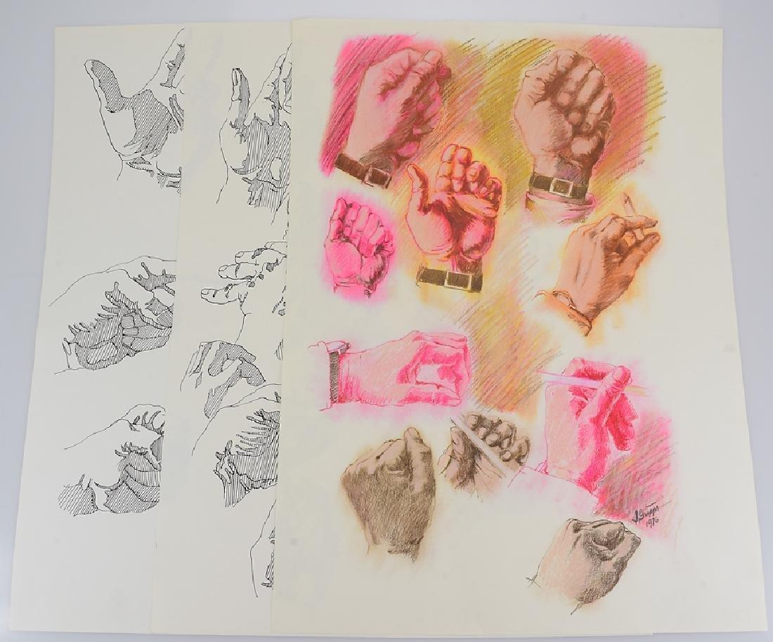 3pcs Ink & Pastel ORIGINAL SALVATORE GRIPPI STUDIES OF