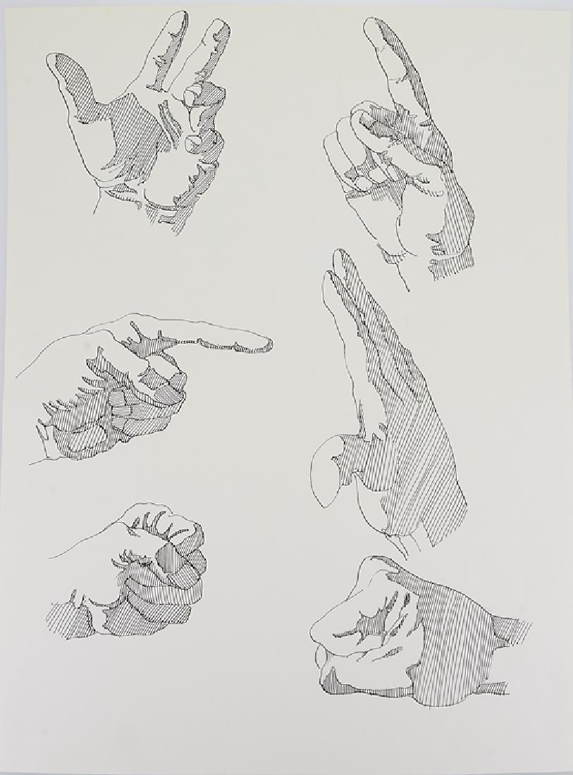 3pcs Ink & Pastel ORIGINAL SALVATORE GRIPPI STUDIES OF - 2