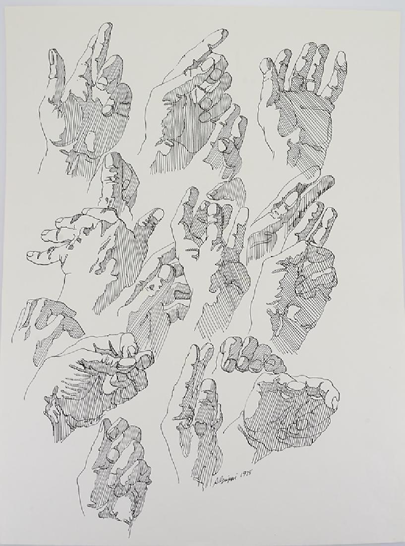 3pcs Ink & Pastel ORIGINAL SALVATORE GRIPPI STUDIES OF - 3