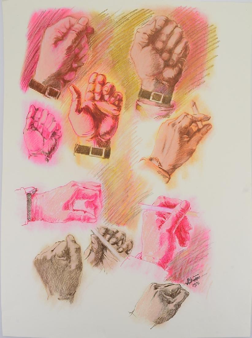 3pcs Ink & Pastel ORIGINAL SALVATORE GRIPPI STUDIES OF - 5