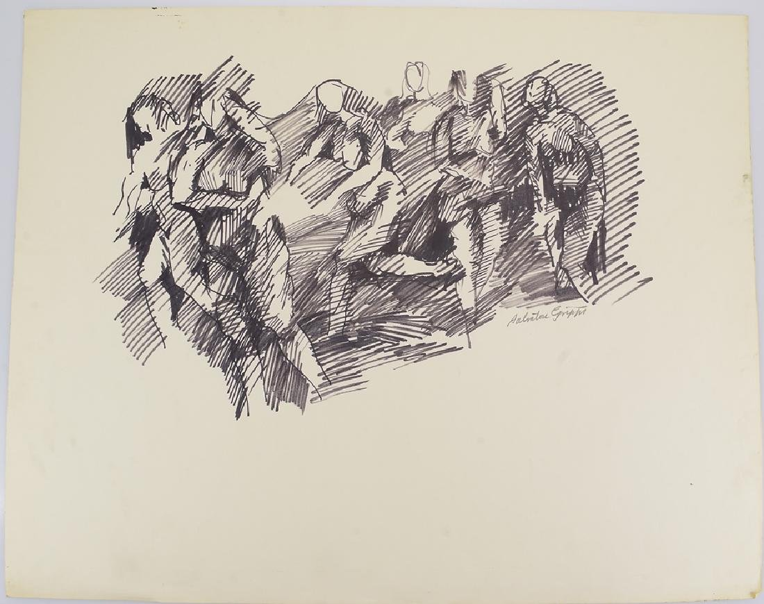 5pcs Figurative Still-Life SALVATORE GRIPPI DRAWINGS - 2