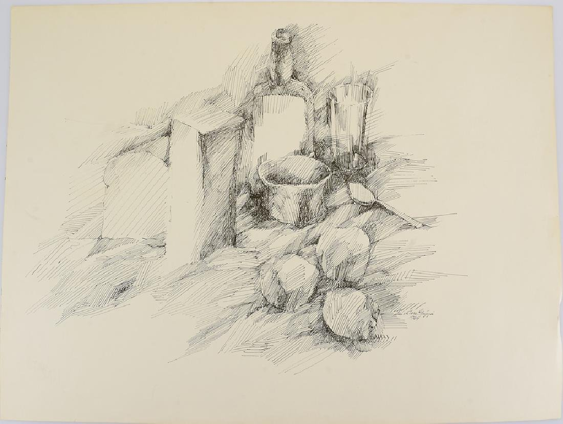 5pcs Figurative Still-Life SALVATORE GRIPPI DRAWINGS - 6