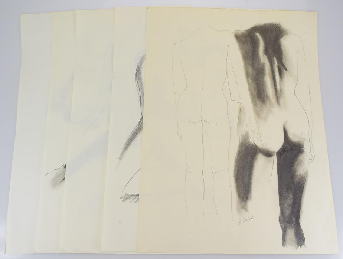 5pcs Nude Pencil Studies ORIGINAL SALVATORE GRIPPI