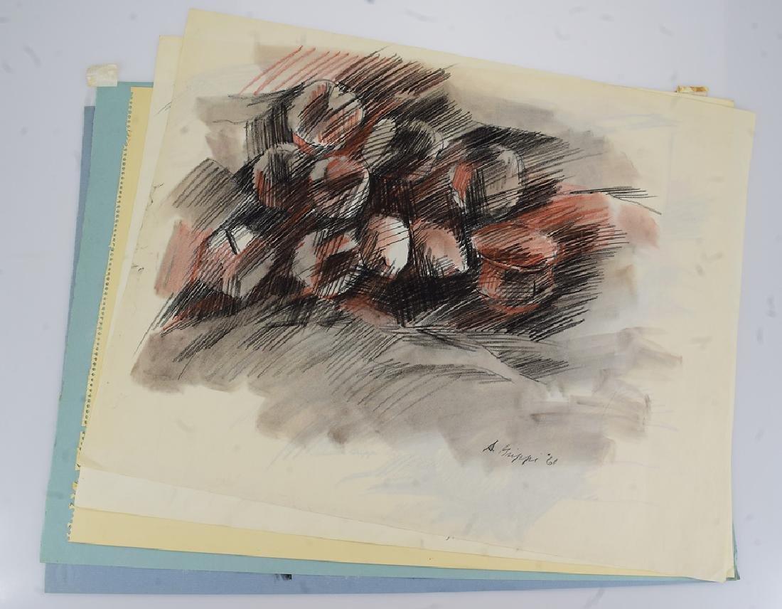 5pcs Still-Life Drawings SALVATORE GRIPPI COLORED