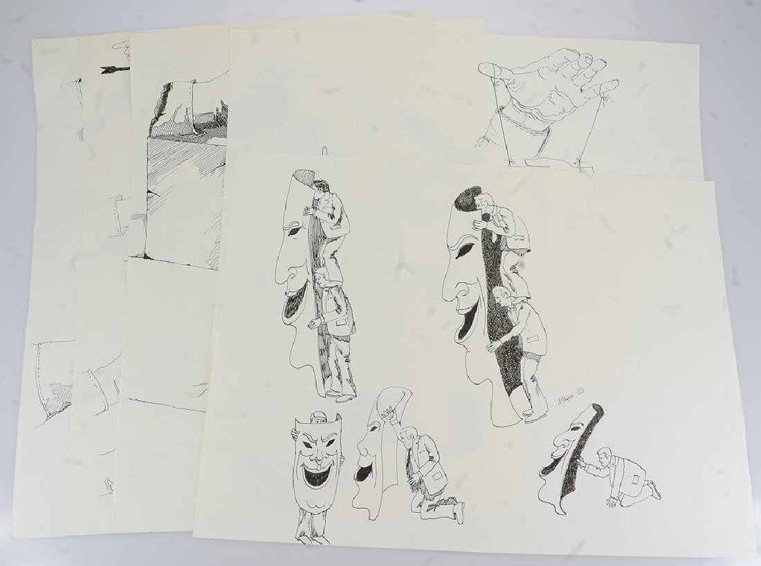 5pcs Artist Signed Drawings ORIGINAL SALVATORE GRIPPI
