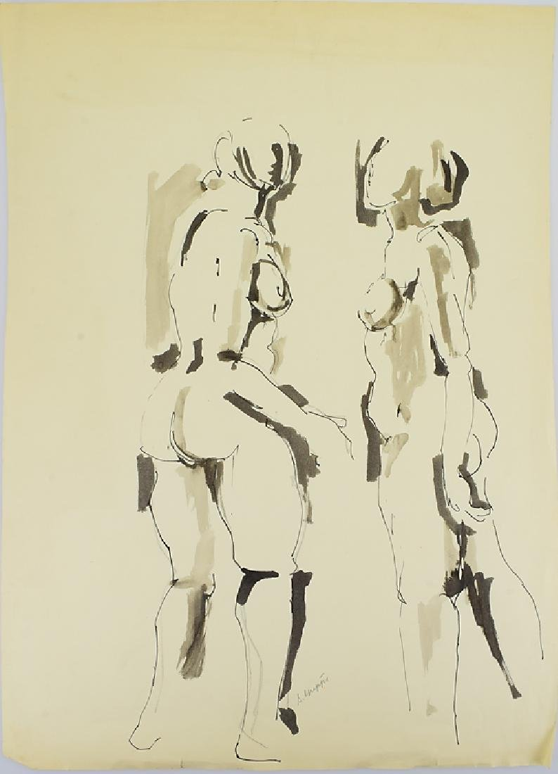 Ink On Paper EARLY SALVATORE GRIPPI FIGURATIVE ABSTRACT