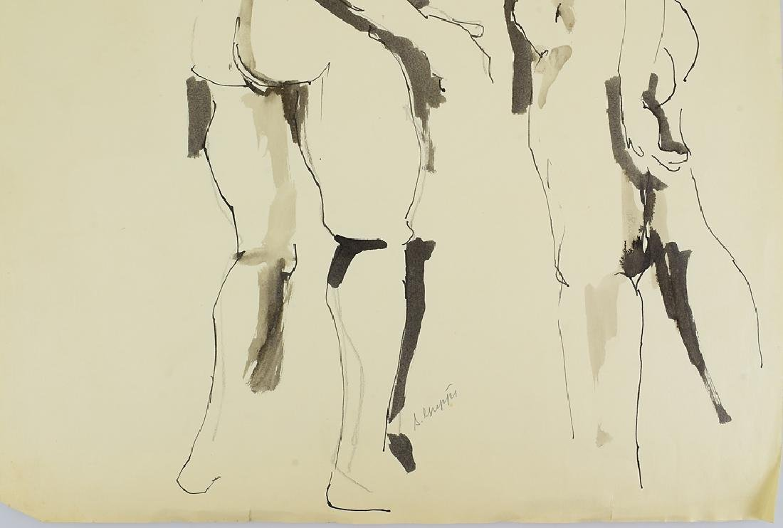 Ink On Paper EARLY SALVATORE GRIPPI FIGURATIVE ABSTRACT - 5