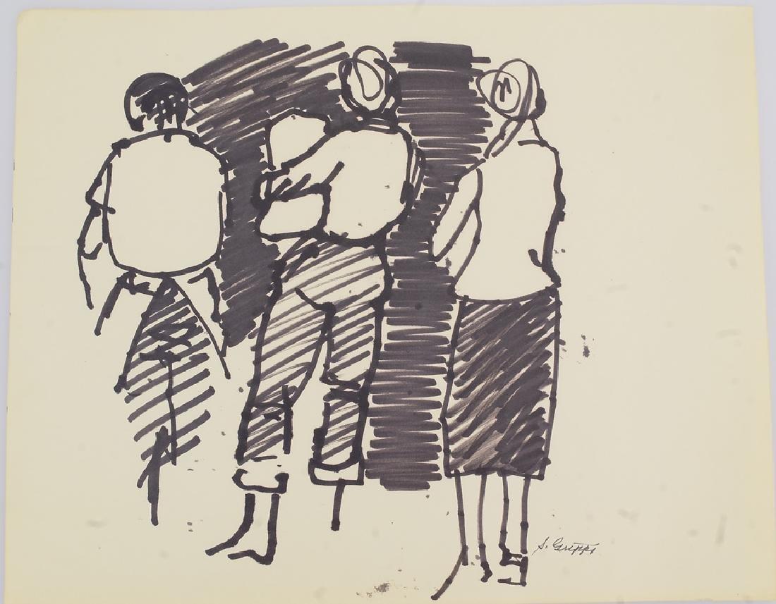 11pcs Black Marker Sketches ORIGINAL SALVATORE GRIPPI - 8