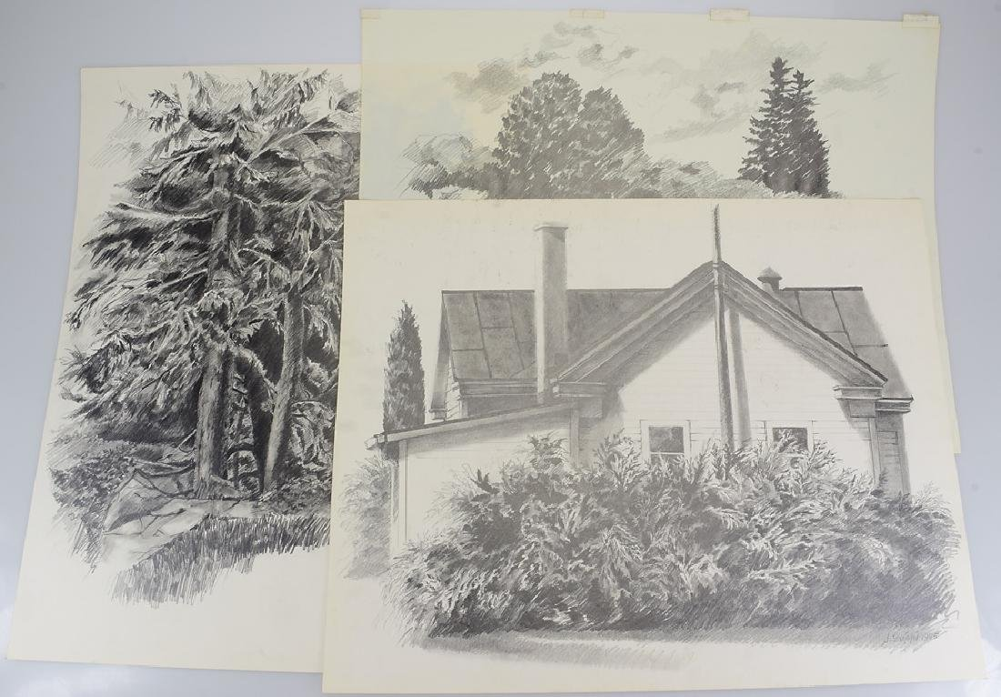 3pcs Pencil Landscape Drawings ORIGINAL SALVATORE