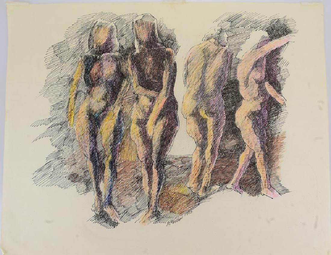 Original Drawing Artwork SALVATORE GRIPPI PASTEL & INK