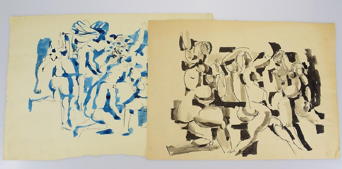 2Pcs Ink & Watercolor EARLY SALVATORE GRIPPI 1955
