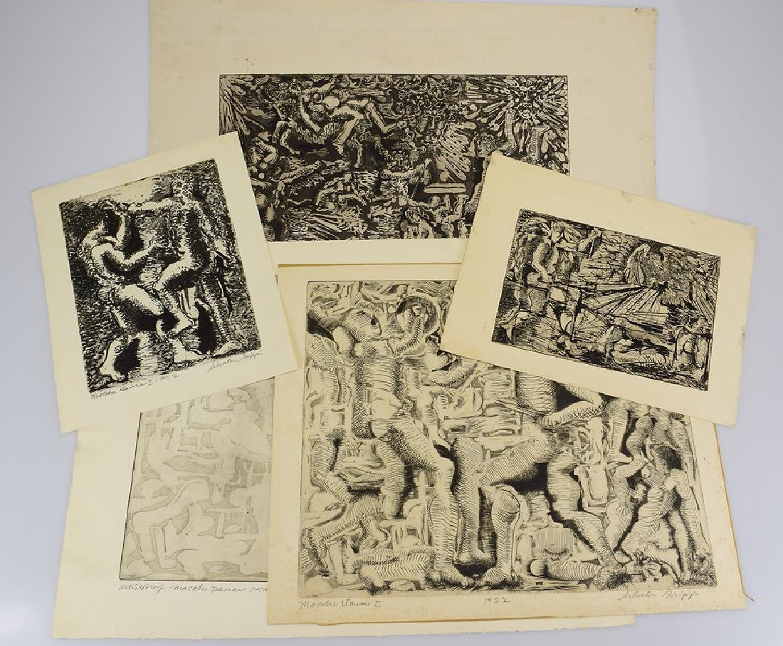 5pcs Etchings Prints Proofs EARLY SALVATORE GRIPPI
