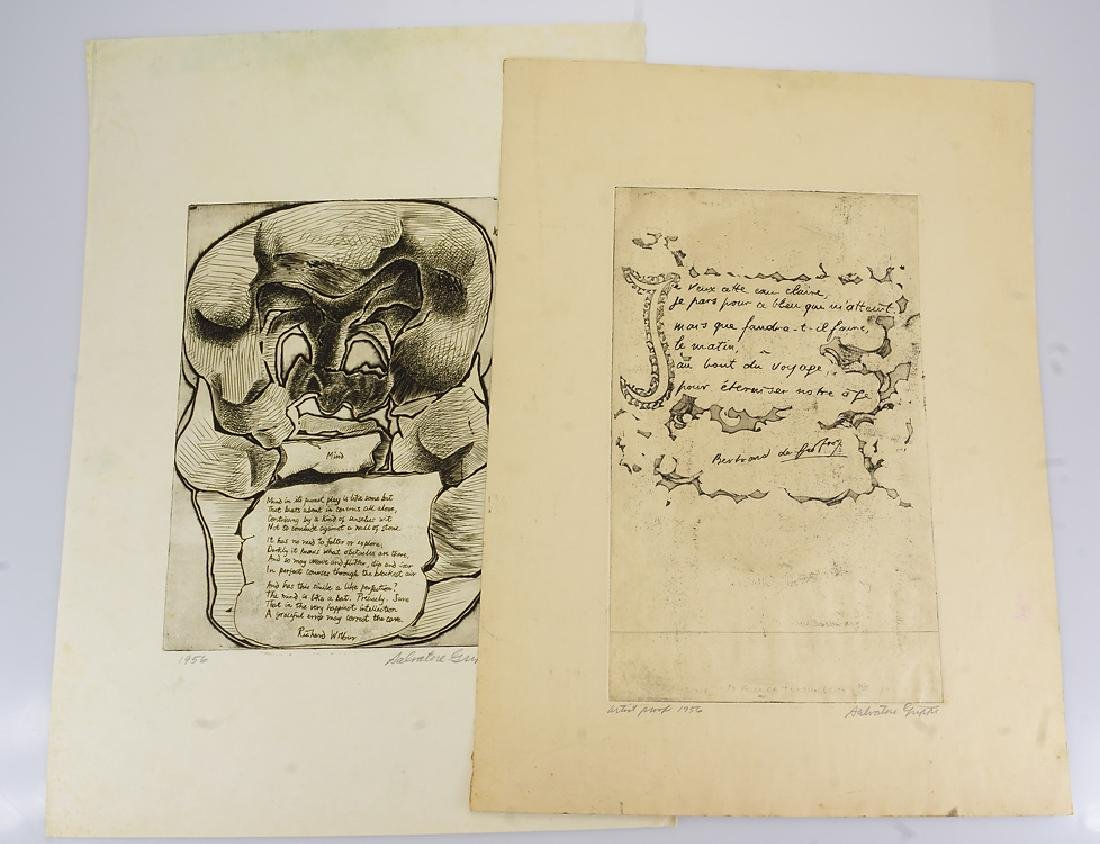 2pcs Etchings Poetry Artwork EARLY SALVATORE GRIPPI