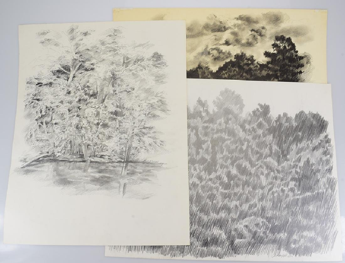 3pcs Original Pencil Landscapes SALVATORE GRIPPI