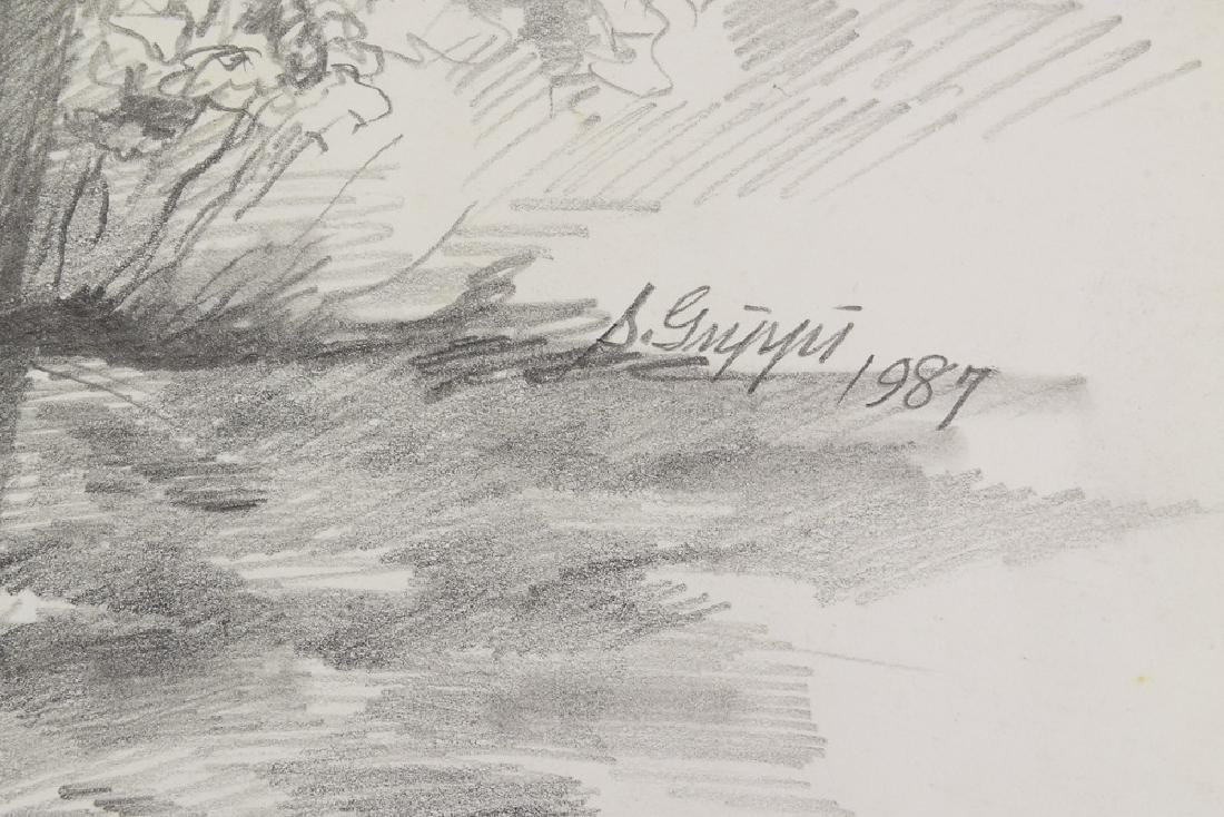 3pcs Original Pencil Landscapes SALVATORE GRIPPI - 7