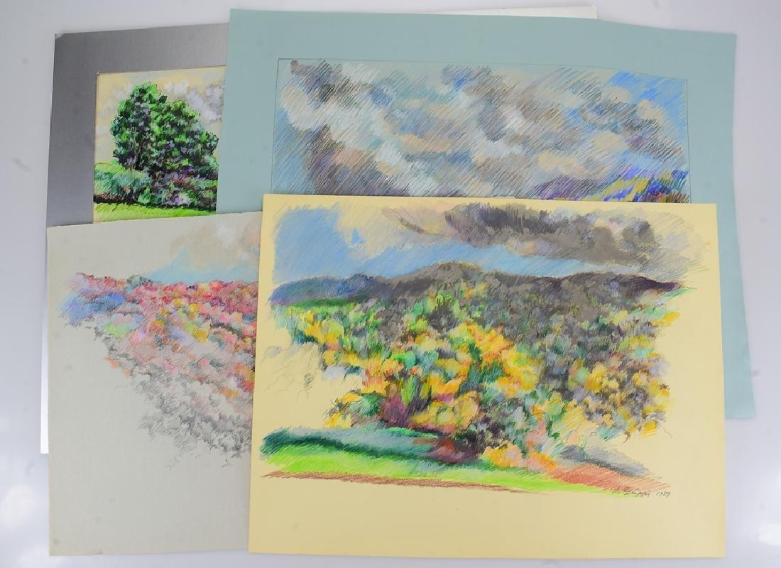 4pcs Pastel & Colored Pencil SALVATORE GRIPPI LANDSCAPE