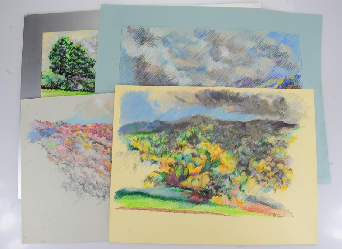 4pcs Pastel & Colored Pencil SALVATORE GRIPPI LANDSCAPE