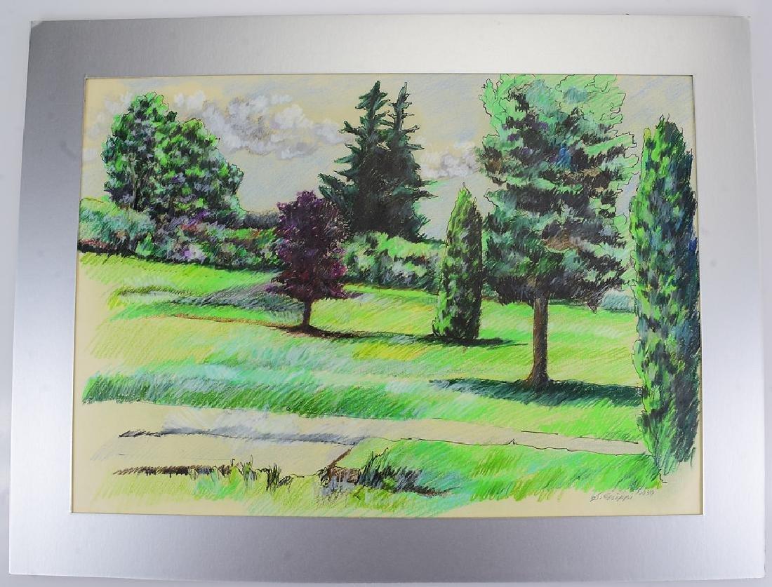 4pcs Pastel & Colored Pencil SALVATORE GRIPPI LANDSCAPE - 2