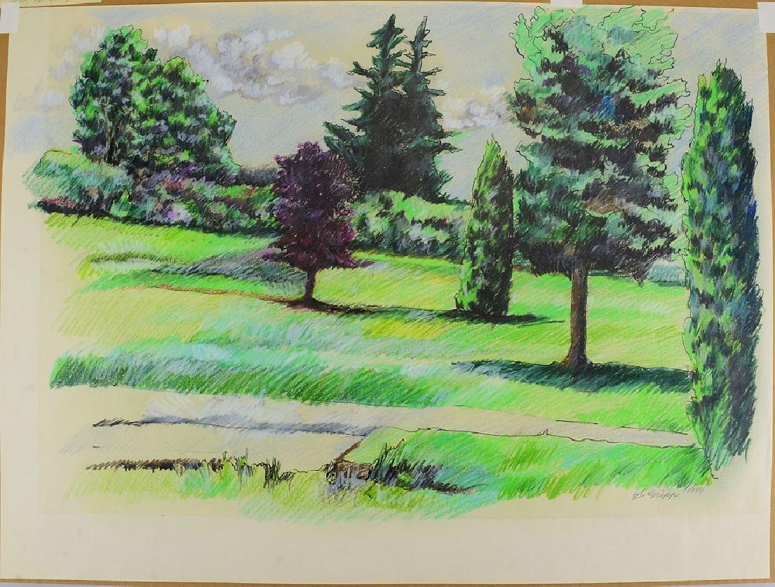 4pcs Pastel & Colored Pencil SALVATORE GRIPPI LANDSCAPE - 3