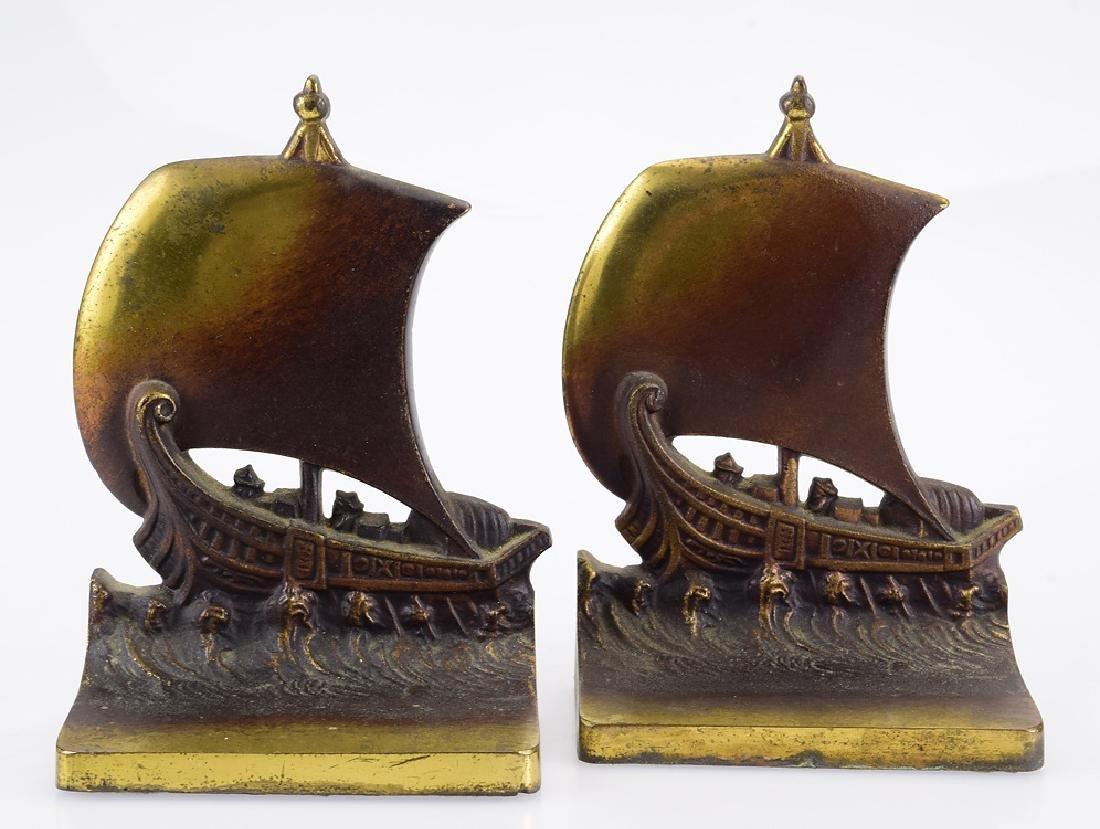 2Pcs Viking Ships BRADLEY & HUBBARD BOOKENDS Vintage