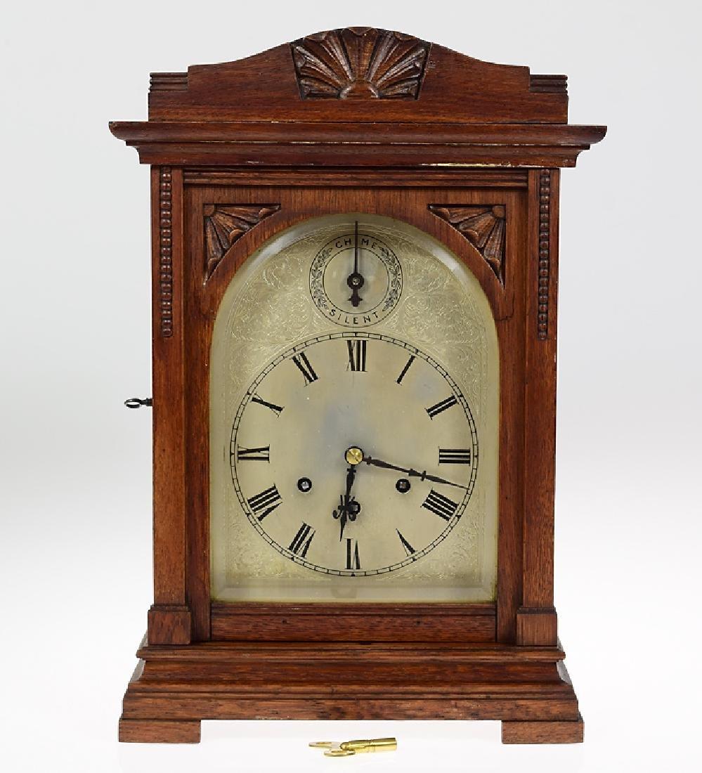 Gustav Becker ANTIQUE OAK MANTLE CLOCK 1918 Westminster