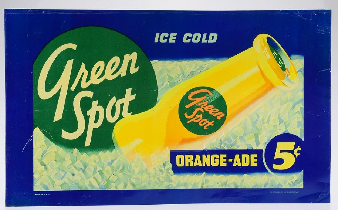 1940s Advertisement TIN GREEN SPOT SIGN Vintage
