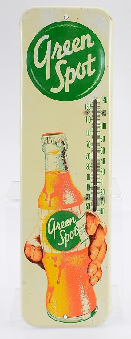 Metal Advertisement GREEN SPOT DRINK THERMOMETER SIGN