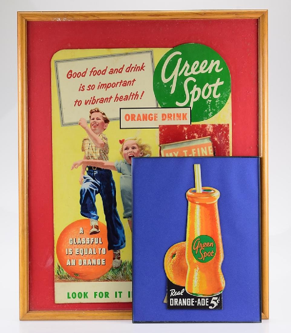 2Pcs Paper Advertisements GREEN SPOT DRINK FRAMED