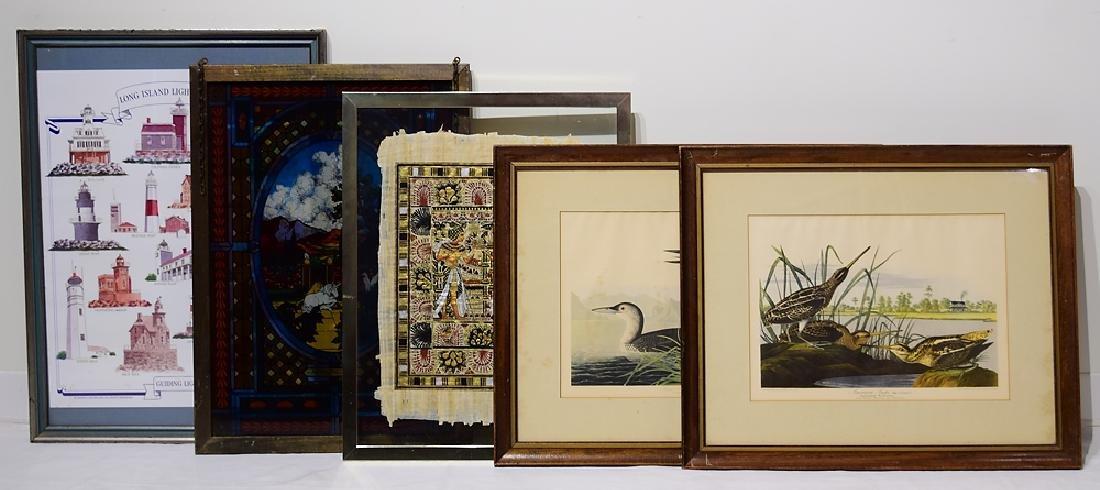 5Pcs Egyptian Papyrus VINTAGE & ANTIQUE FRAMED PRINTS &