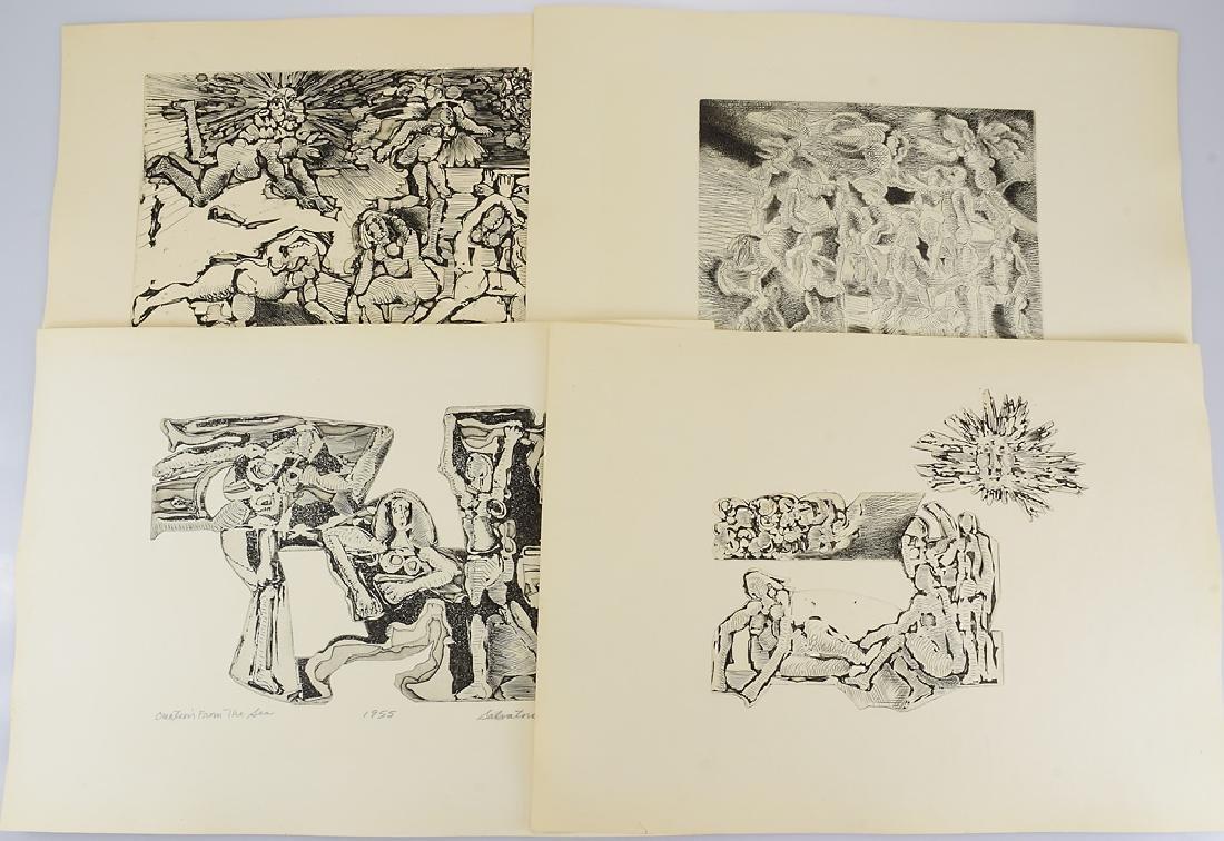 4Pcs Early Works SALVATORE GRIPPI WOODCUTS c1953 Artist