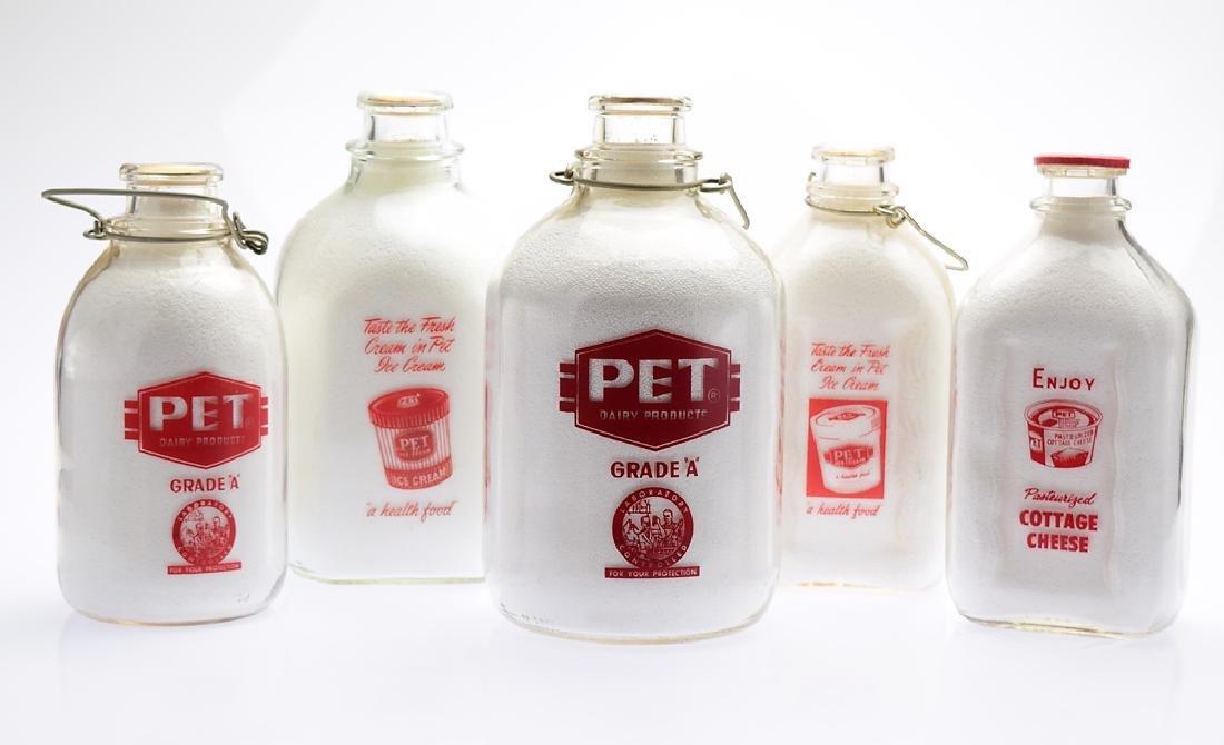 5Pcs Glass Dairy PET MILK COMPANY MILK BOTTLES Vintage