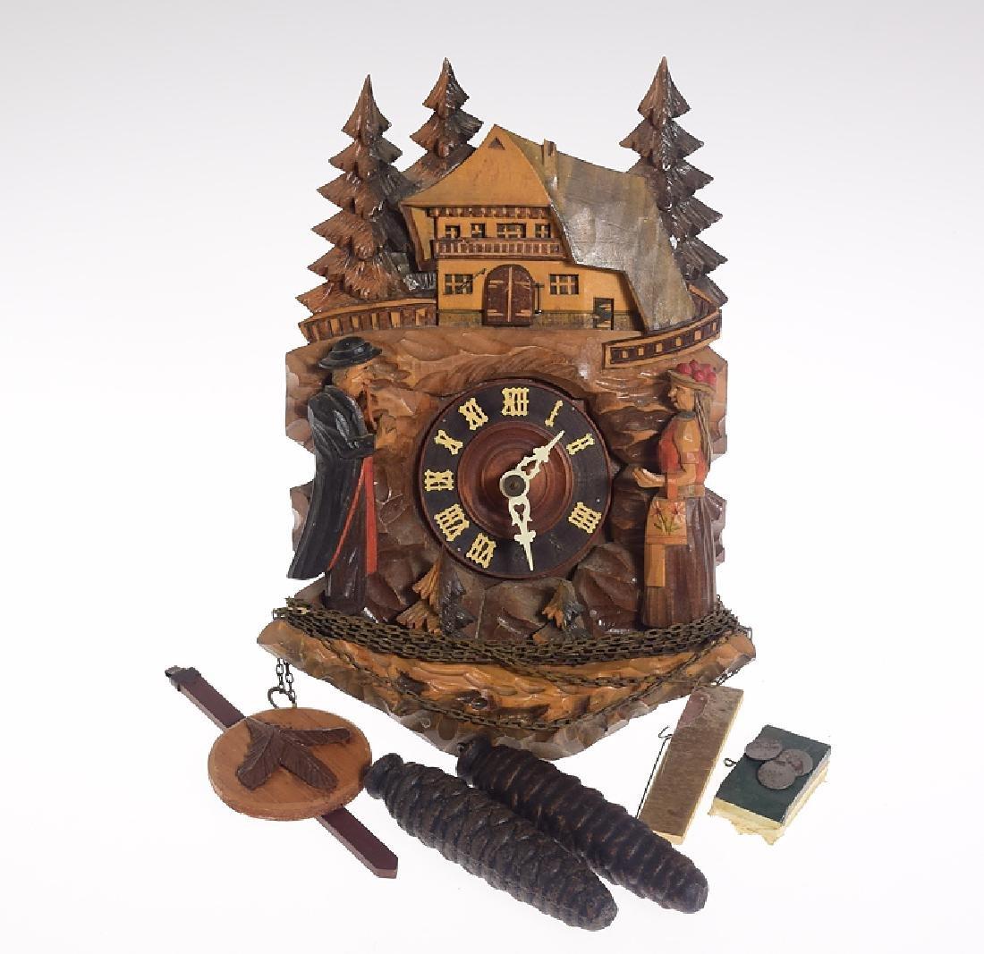 Black Forest Clock VINTAGE GERMAN CHALET ON HILLTOP