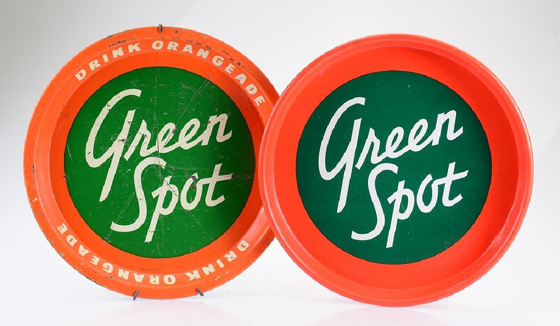 2Pcs Round Metal VINTAGE GREEN SPOT SIGNS Green &