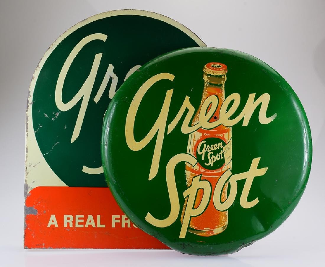 2Pcs Round & Flange METAL ADVERTISEMENT SIGNS FOR GREEN