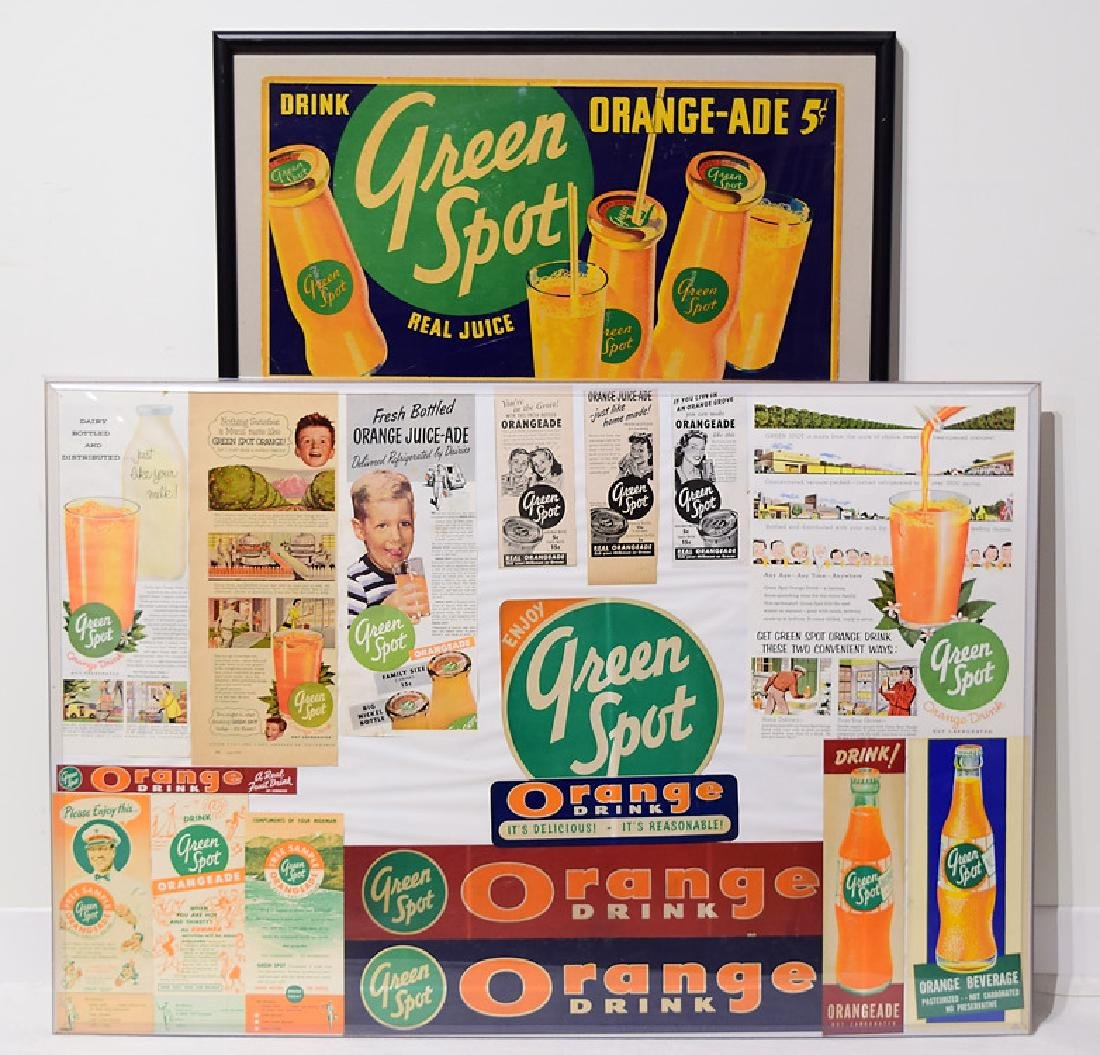 2Pcs Collage VINTAGE FRAMED GREEN SPOT DRINK