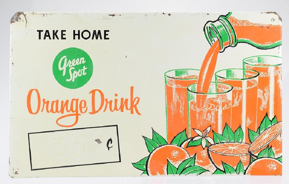 Orange Drink VINTAGE METAL GREEN SPOT ADVERTISEMENT
