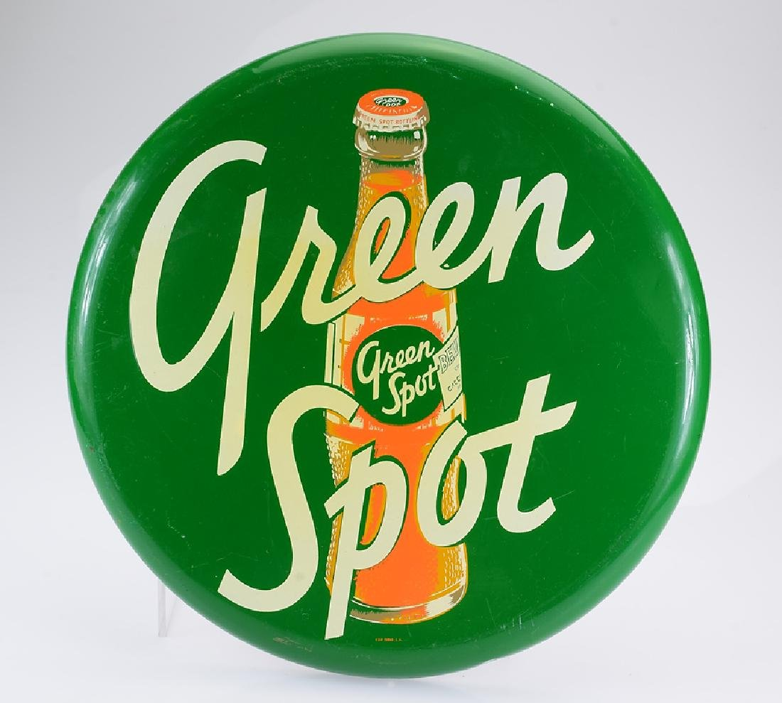 Soft Drink Marketing VINTAGE GREEN SPOT ROUND SIGN