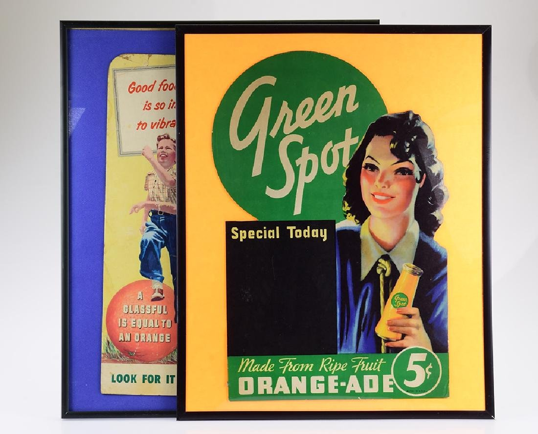 2Pcs Vintage Advertisements GREEN SPOT DRINK FRAMED