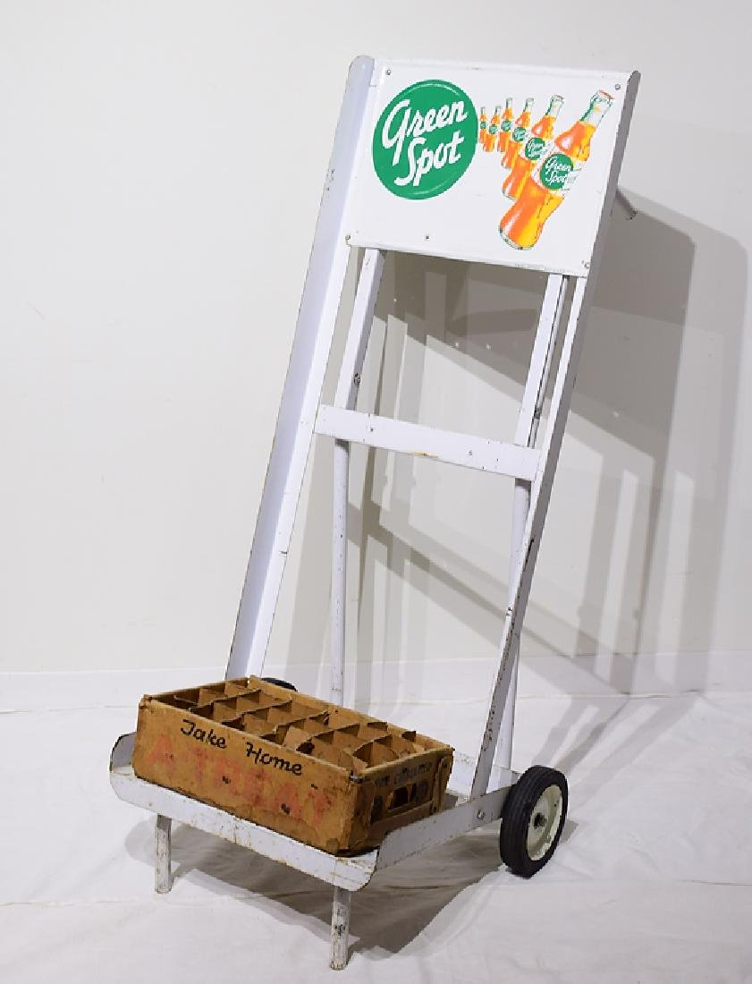2Pcs Vintage Drink Delivery GREEN SPOT HAND TRUCK &