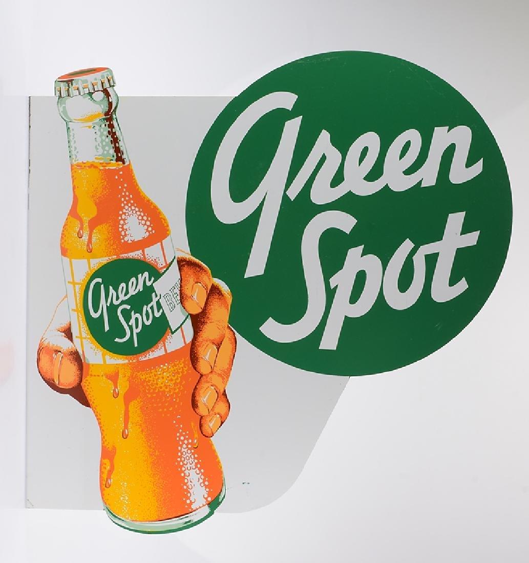 Vintage Tin GREEN SPOT FLANGE SIGN 1950s Advertising