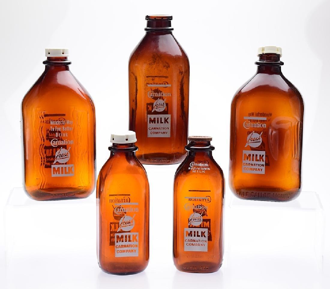 5Pcs Vintage Amber CARNATION MILK BOTTLES Dairy Company